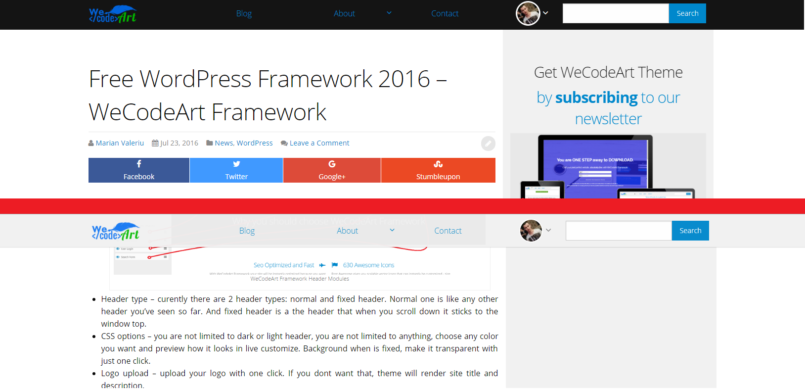 WeCodeArt Framework Header Types