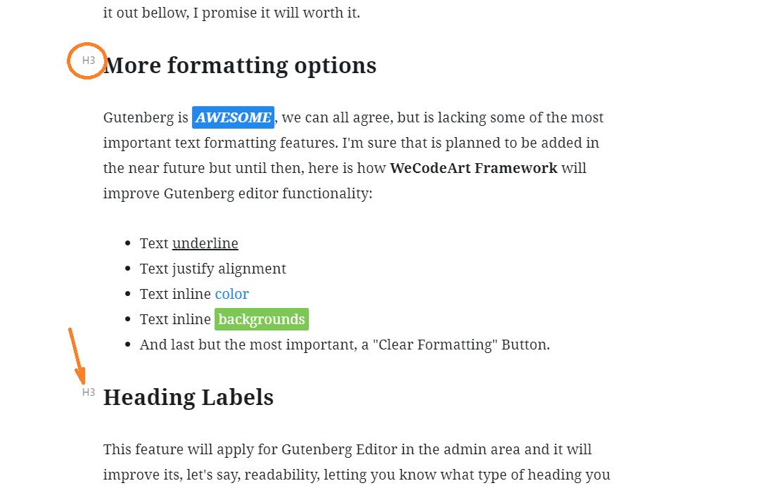 WeCodeArt Framework Gutenberg Heading Labels